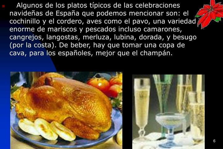 Algunos de los platos típicos de las celebraciones navideñas de España que podemos mencionar son: el cochinillo y el cordero, aves como el pavo, una variedad enorme de mariscos y pescados incluso camarones, cangrejos, langostas, merluza, lubina, dorada, y besugo (por la costa). De beber, hay que tomar una copa de cava, para los españoles, mejor que el champán.