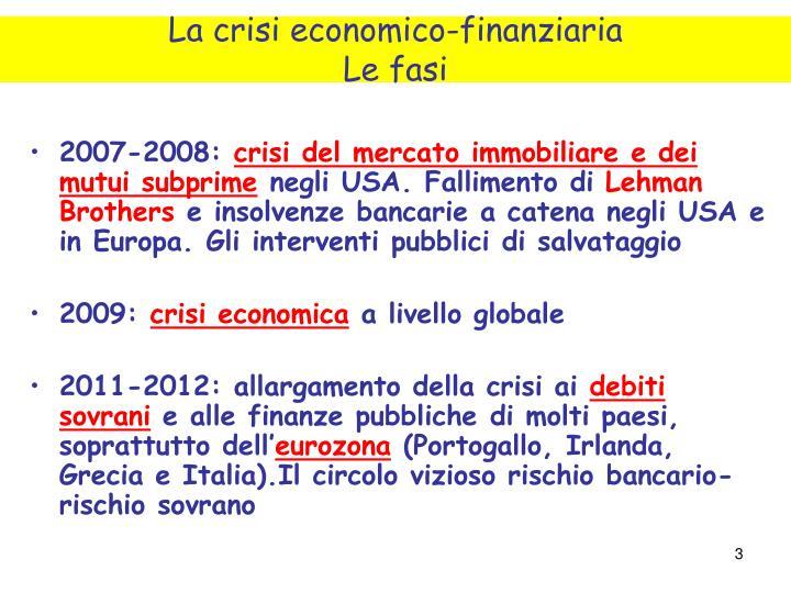 La crisi economico finanziaria le fasi