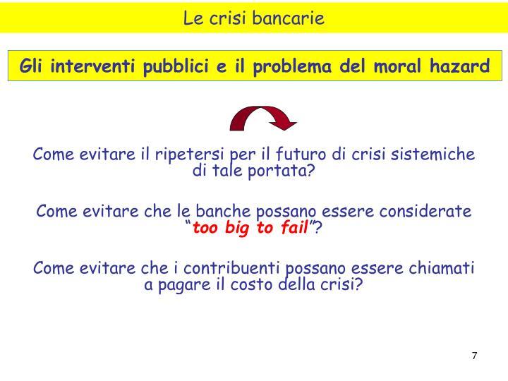 Le crisi bancarie