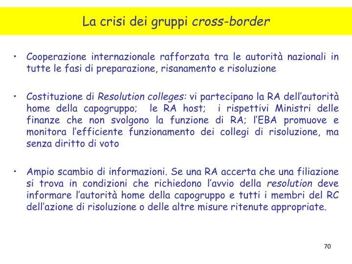 Cooperazione internazionale rafforzata tra le autorità nazionali in tutte le fasi di preparazione, risanamento e risoluzione