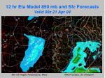 12 hr eta model 850 mb and sfc forecasts valid 00z 21 apr 04