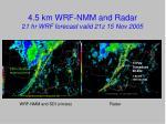 4 5 km wrf nmm and radar 2 1 hr wrf forecast valid 21z 15 nov 2005