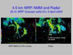 4 5 km wrf nmm and radar 25 hr wrf forecast valid 01z 3 april 2005