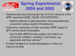 spring experiments 2004 and 2005