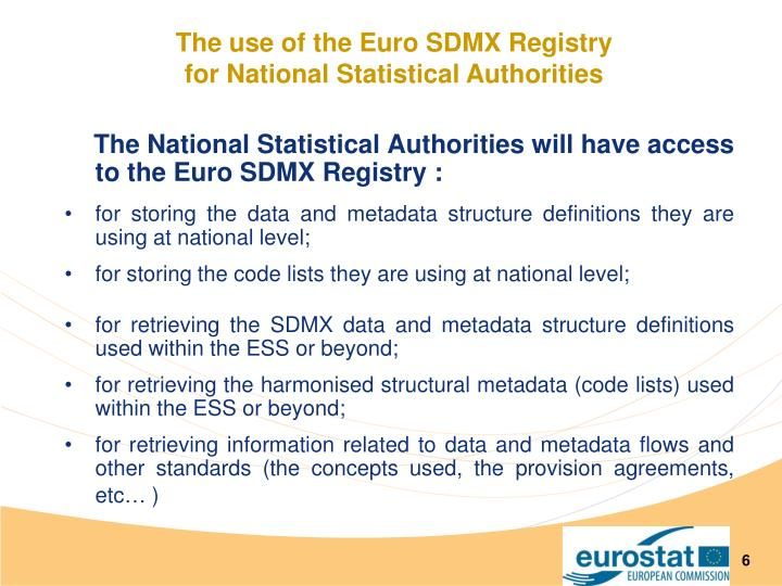 The use of the Euro SDMX Registry