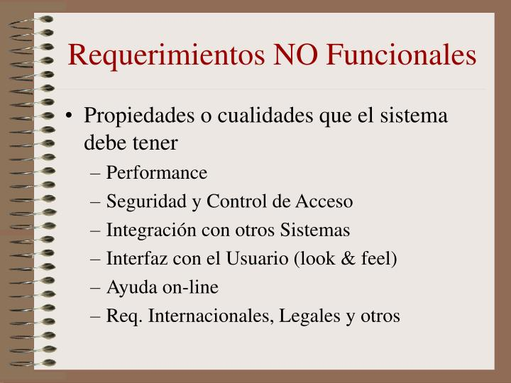 Requerimientos NO Funcionales