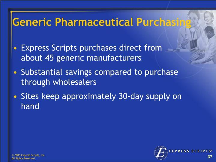 Generic Pharmaceutical Purchasing
