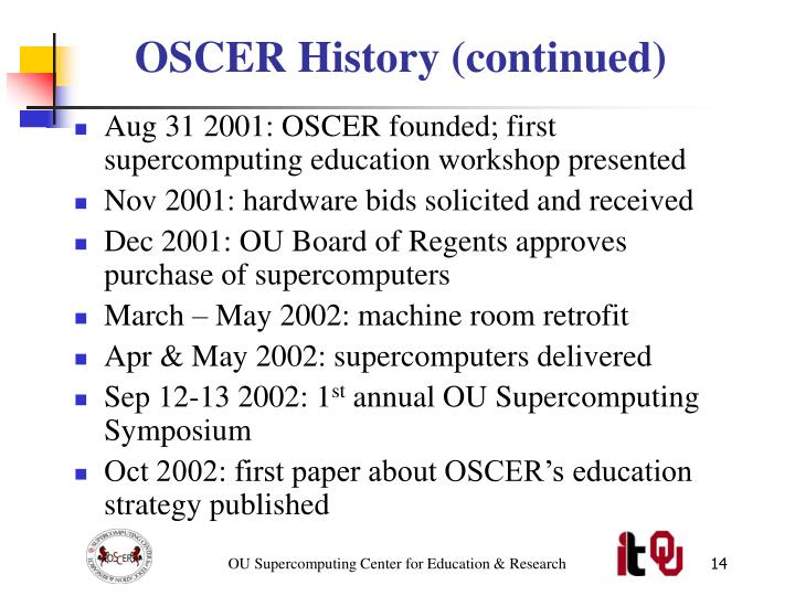 OSCER History (continued)