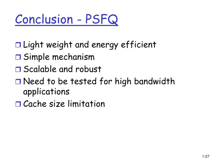 Conclusion - PSFQ