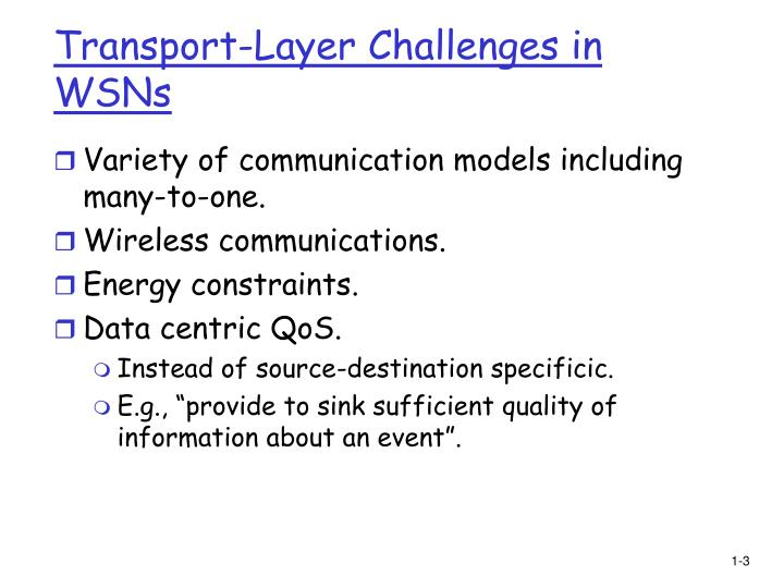 Transport layer challenges in wsns
