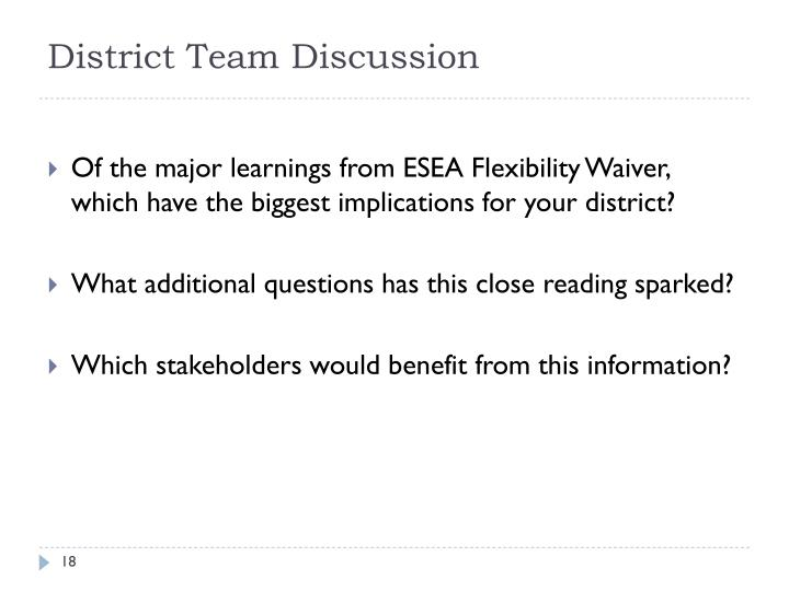 District Team Discussion