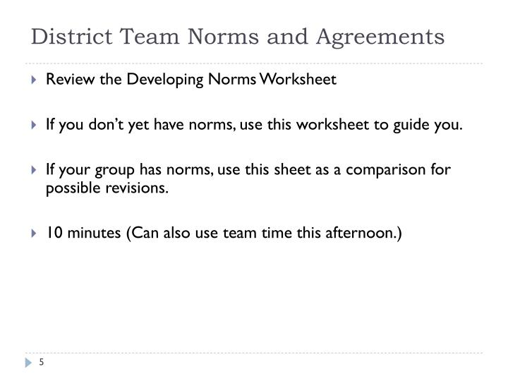 District Team Norms and Agreements