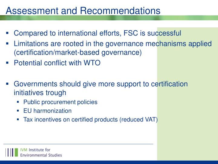 Assessment and Recommendations