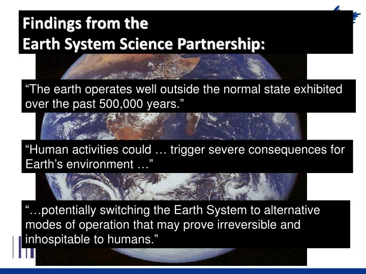 Findings from the earth system science partnership