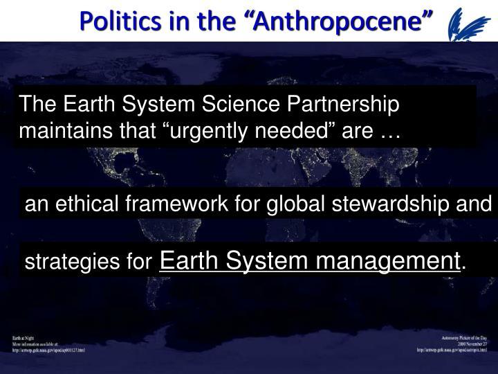 "Politics in the ""Anthropocene"""