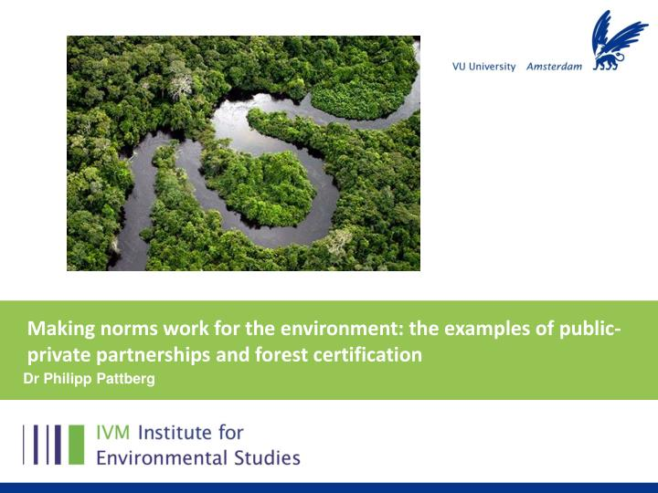 Making norms work for the environment: the examples of public-private partnerships and forest certif...