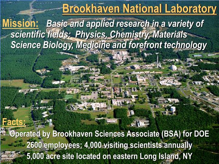 brookhaven national lab essay In 2004, he became director of brookhaven national laboratory (bnl) and stepped down in 2006 praveen died on january 12, 2010, at the age of 72 he is survived by his wife, karin his son, ashok and his daughter, pia.