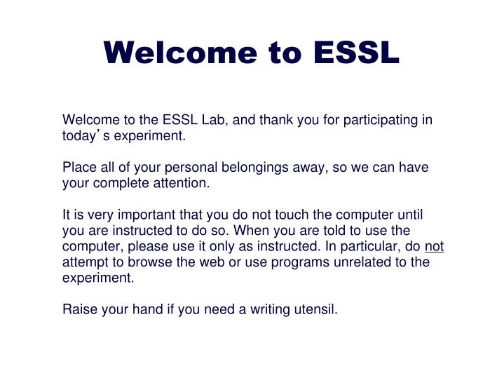 Welcome to ESSL