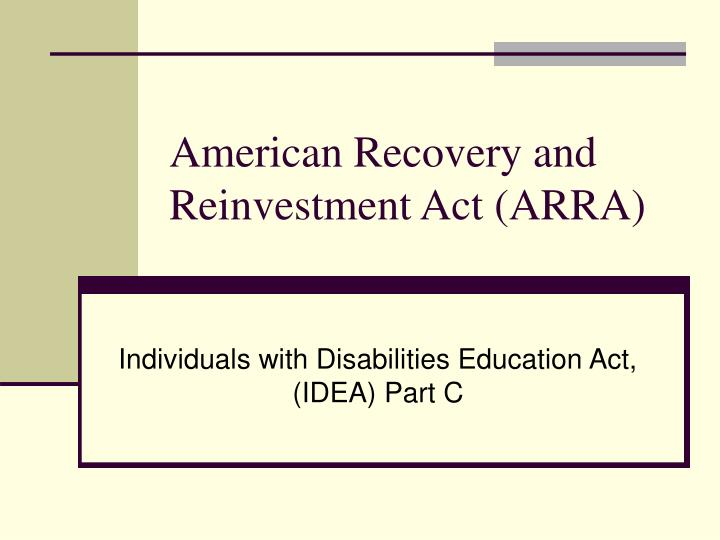 American recovery and reinvestment act arra