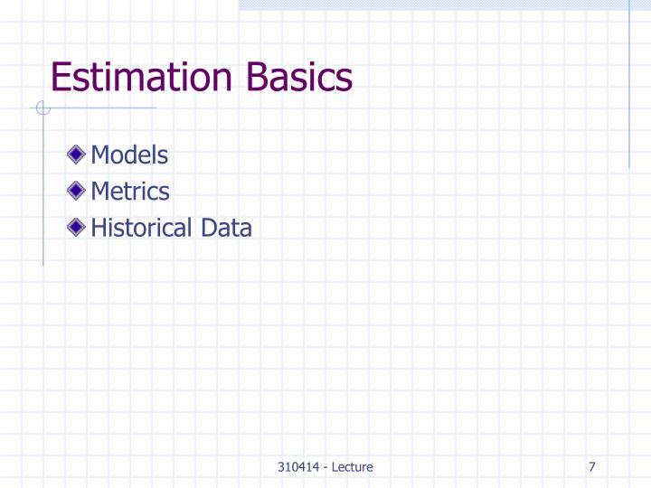 Estimation Basics