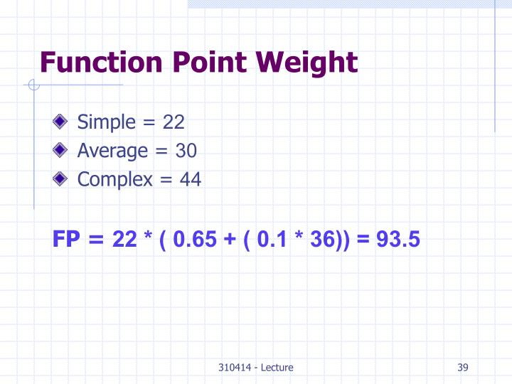 Function Point Weight