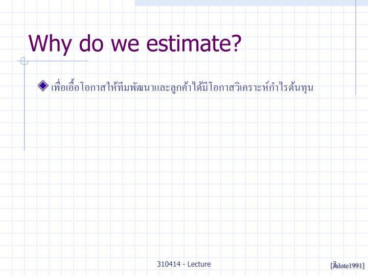 Why do we estimate