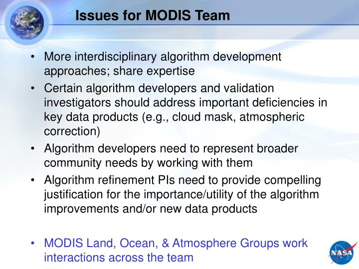 Issues for MODIS Team