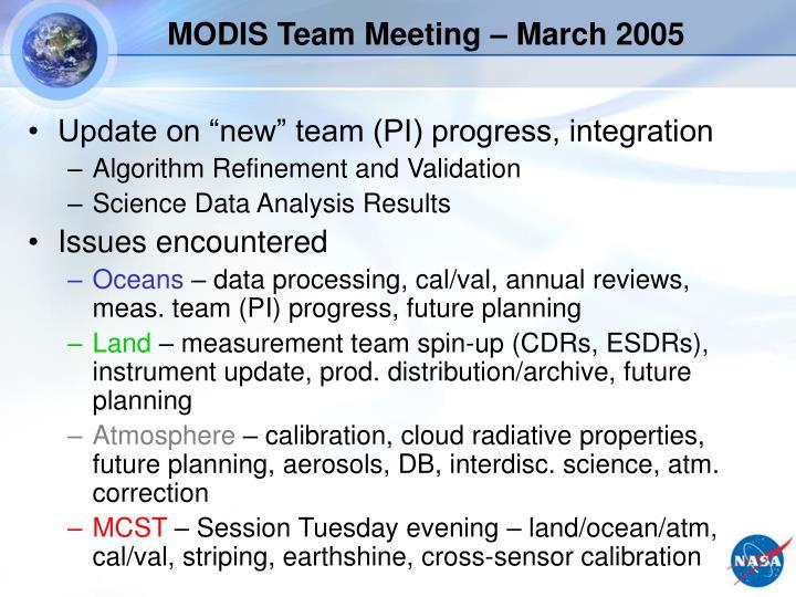 MODIS Team Meeting – March 2005