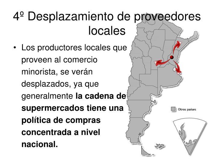 4º Desplazamiento de proveedores locales