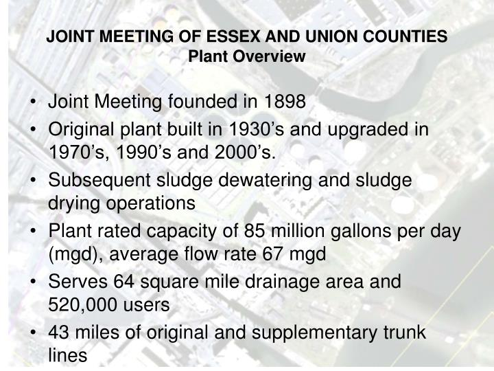 Joint meeting of essex and union counties plant overview