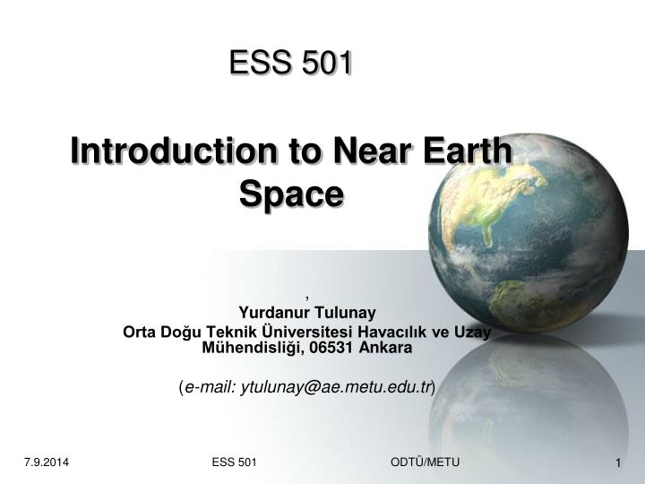 ess 501 introduction to near earth space n.