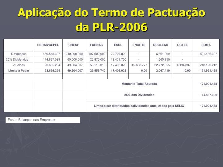 Aplicação do Termo de Pactuação da PLR-2006