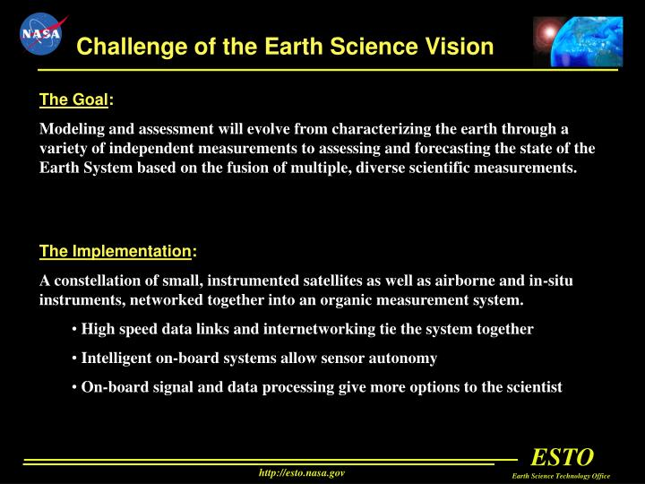 Challenge of the Earth Science Vision