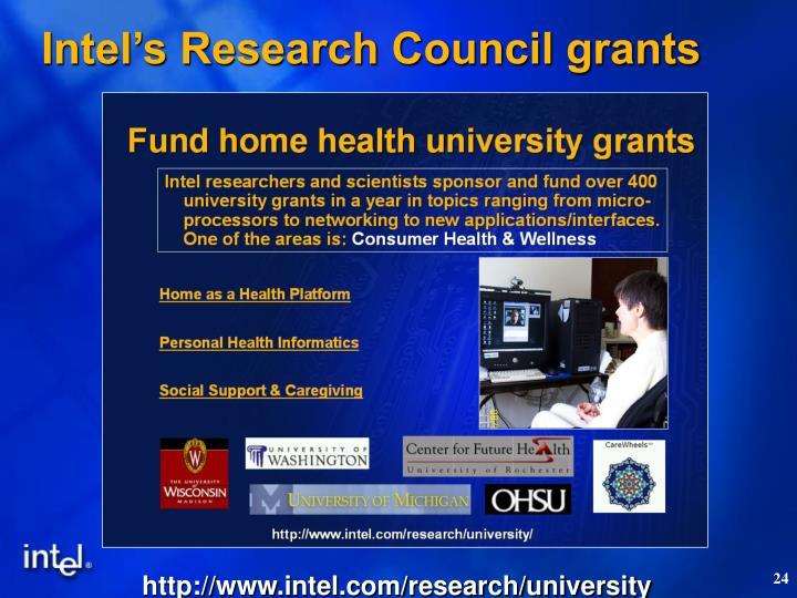 Intel's Research Council grants