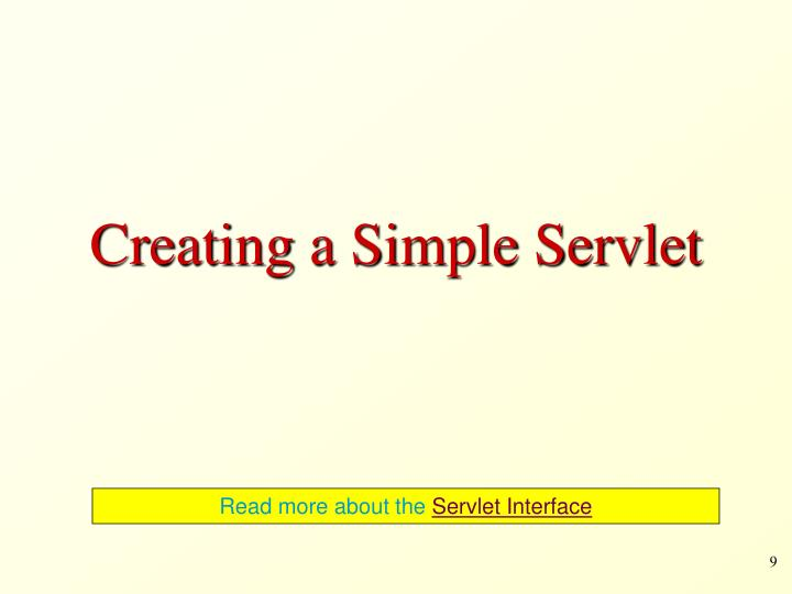 Creating a Simple Servlet