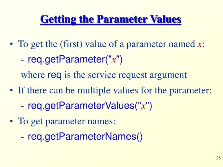 Getting the Parameter Values