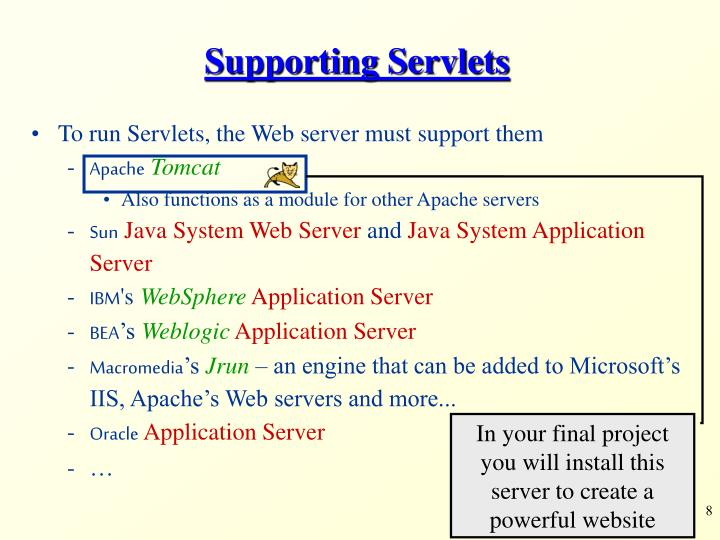 In your final project you will install this server to create a powerful website