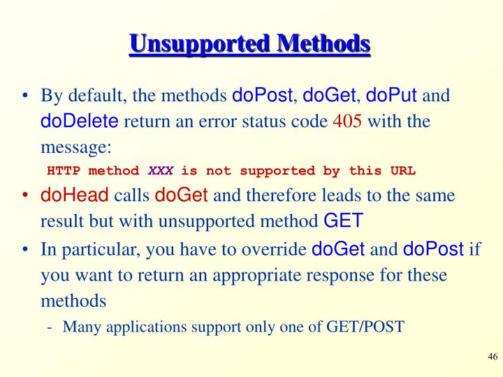 Unsupported Methods