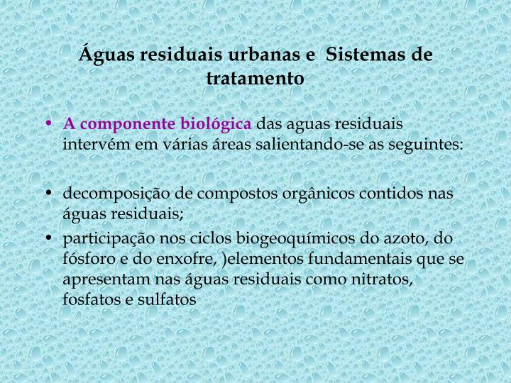 Guas residuais urbanas e sistemas de tratamento1