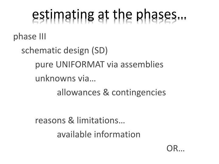 Estimating at the phases