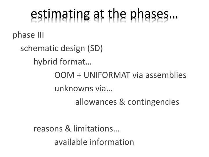 estimating at the phases…