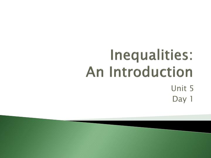 Inequalities an introduction