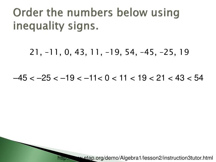 Order the numbers below using inequality signs.