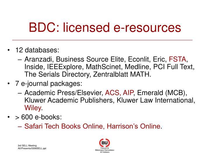 BDC: licensed e-resources