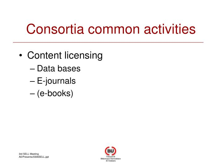 Consortia common activities