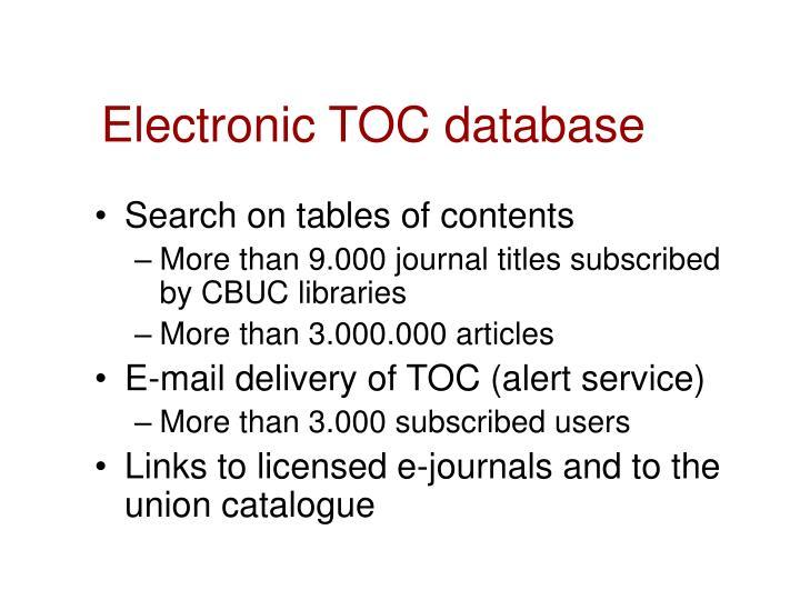 Electronic TOC database