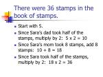 there were 36 stamps in the book of stamps