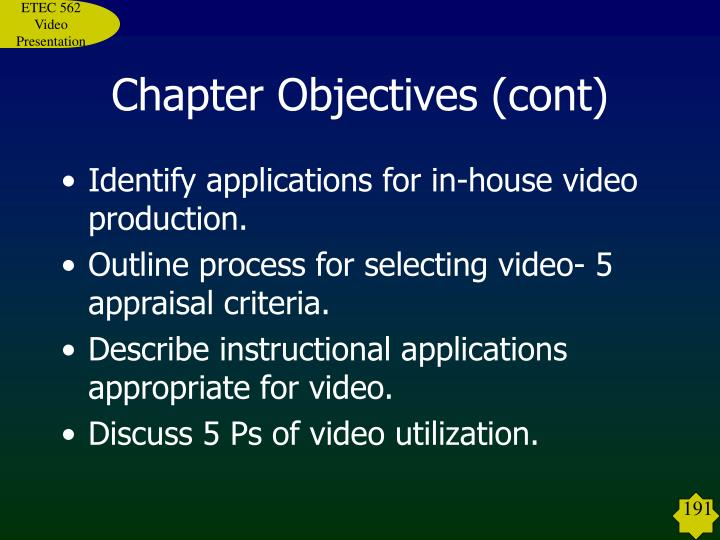 Chapter objectives cont