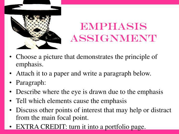 Emphasis assignment