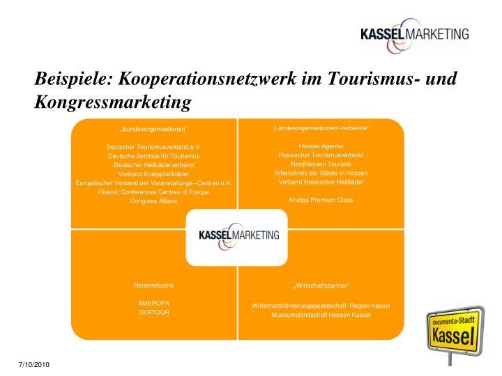 Beispiele: Kooperationsnetzwerk im Tourismus- und Kongressmarketing